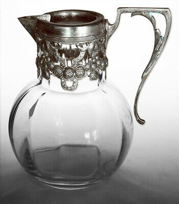 Antique Art Nouveau Glass And Silver Plate Pitcher 7 Inches Tall With Markings (