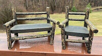 Antique/Vintage Adirondack Miniature Wood Settee and Chair Salesman Samples