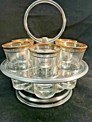 Vintage Silver Carousel with 6 Tall Shot Glasses