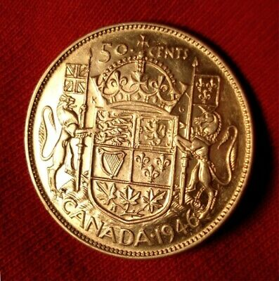 ><>< 1946 WD  ><>< CANADA ><>< Fifty Cent ><>< SILVER <> George VI <> Wide Date