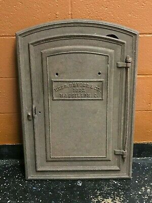 """Antique Hess Snyder Co. Cast Iron Metal Door LARGE 32"""" x 22"""" Massillon OH USA"""