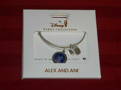 Disney Parks ALEX AND ANI Cinderella Castle Fireworks Silver Bangle Bracelet New