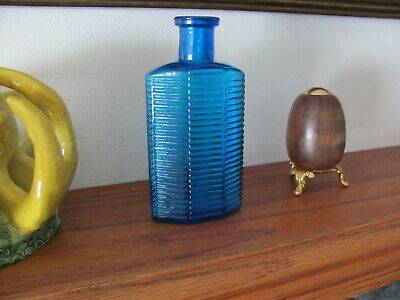 STUNNING Peacock Blue Hexagon Poison Bottle - Beautiful Color & Nice Condition