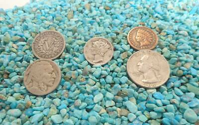 STSML4  1/4 pound NATURAL Small Turquoise Inlay nuggets light blue NO POWDER