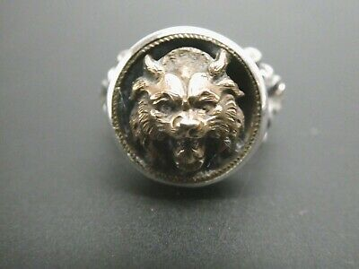 Vintage Victorian Lion Cat Bronze Antique Button Sterling Silver Ring Size 5.5