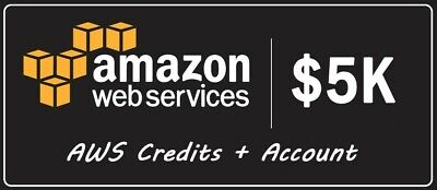 ($5,000 Available Credits) AWS - Amazon Web Services $5,000 credit account
