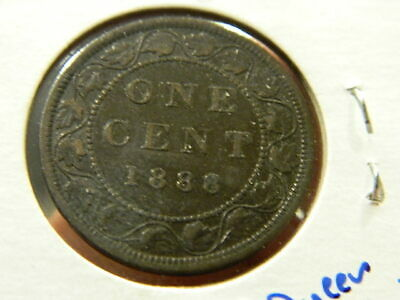 1888 CANADA One Cent - Rare Bronze Large Cent Coin - Queen Victoria - Fine