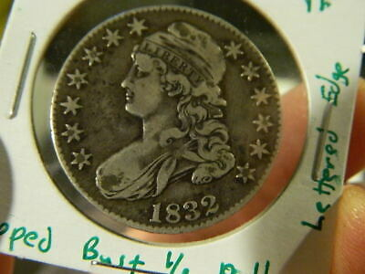U.S. 1832 CAPPED BUST Half Dollar - Beautiful LETTERED EDGE Silver - Very Fine