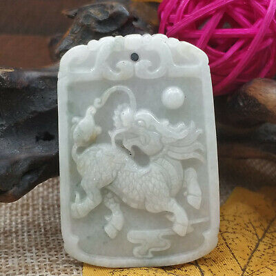 Chinese Hand-carved aristocratic wearing Jadeite jade pendant (jade Unicorn)