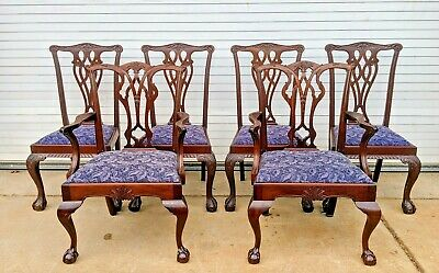Saybolt Cleland Armchairs and 4 Side Chairs Mahogany Claw Ball Dining