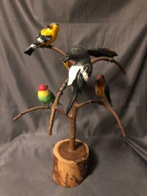 Jonathan Bastian Folk Art Hand Craved Hand Painted Wooden Tree 6 Birds Wire Rd
