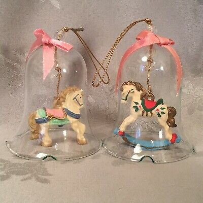"""Pair Of Vtg Clear Glass Bell Carousel Horse Christmas Ornaments Pink Blue 3"""""""