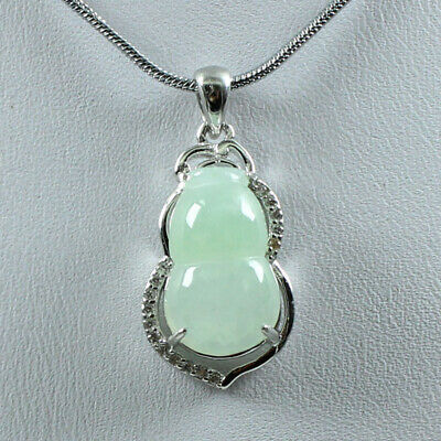 925 Silver Cert'd Untreated Icy Green A Jade Jadeite Necklace Pendant Gourd 1457
