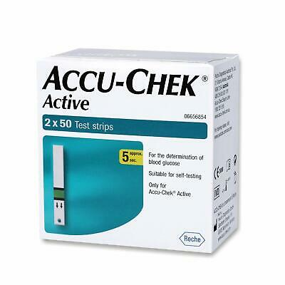 Accu-Chek Active 100 Strips, (50x2) (Multicolor) FREE SHIPPING 05/2021