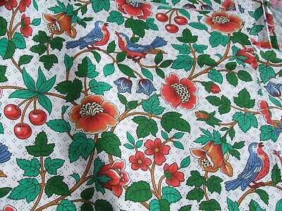 4 Pieces Of Craft Curtain Fabric Arts And Crafts Birds Cherries Briarwood Esque