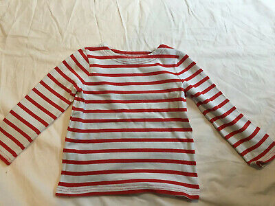 Boys Boden Breton Striped Top Red And White. Age 3-4