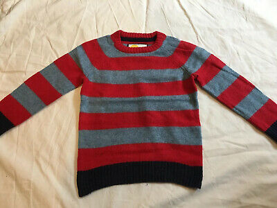 Mini Boden boys navy blue, grey And red striped jumper, aged 3 - 4 years