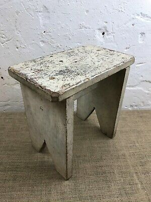 Vintage Original Painted Rustic Pine Wooden English Milking Farmhouse Stool Seat