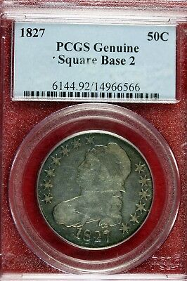 1827 - PCGS GENUINE SQUARE BASE 2 Capped Bust Half Dollar!!!  #B12965