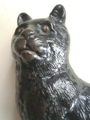 Early 1900'S Antique  Cast Iron Arcade Soft Fur Black Cat Still Penny Bank