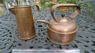 COPPER KETTLE and ARTS & CRAFTS STYLE COPPER JUG - Vintage / Antique?