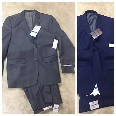 mens Perry Ellis portfolio Slim Fit 2 piece suit jacket w pants gray blue 12-19