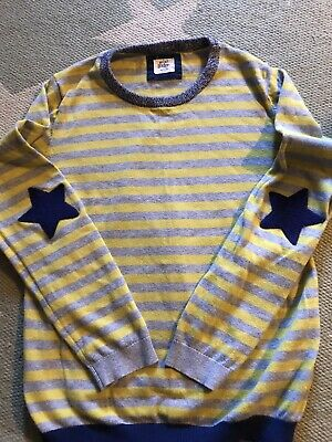 Mini Boden Jumper Age 11-12 Grey And Yellow With Star Elbow Patches