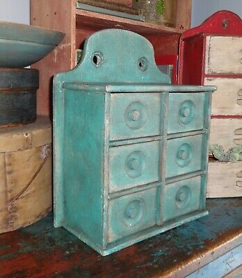 Antique 6 Drawer Spice Cabinet/Box/Cupboard/Apothecary/Chest/Blue-Painted