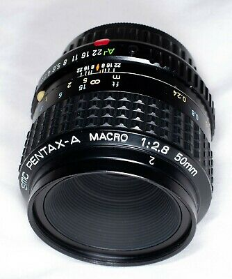 SMC Pentax A Macro 50 mm f2.8 ( or fit Sony FE with suitable adaptor)