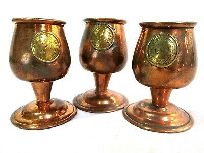 """Miniature Copper Goblets 3 pc w/ Gold Flashed Roman Coin Design 2.5"""" Tall"""