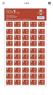 200 x 1st Class Large Letter Stamps Peel & Stick. 4 Sheets of 50. 20% Off RRP #0