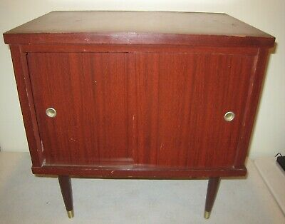 VTG Mid Century Modern Record Cabinet Mahogany Red Color Wood & Metal Retro 60's