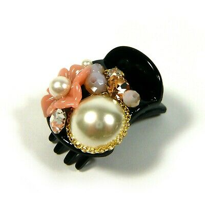 a Pair of Pink Flower Crystal Pearl Beaded Small Black Plastic Hair Clip Claw