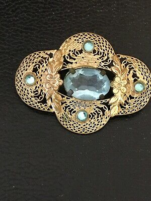 Pin Old Blue Topaz Colored Glass Stone Silver Filigree Oval Ornate 45mm Antique
