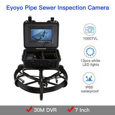 "30M Snake Underwater Industrial Pipeline Camera 7"" LCD 1000TVL IP68 Waterproof"