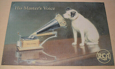"""Nipper Dog Metal Sign RCA Victor Phonograph Size 16""""×11"""" (reproduction)"""