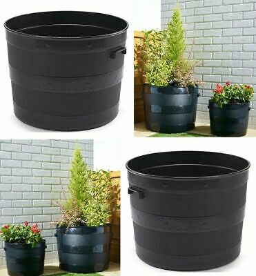 Black Plastic Planter Plant Pot Tub Garden Patio Out Or Indoor Barrel Flower Pot