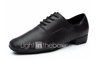 New Men's Black Faux Leather Ballroom Dance Shoes With Suede Sole