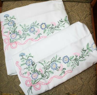 New Bucilla Hand Embroidered Standard Pillowcase Pair-Blue Flowers-Pink Ribbons
