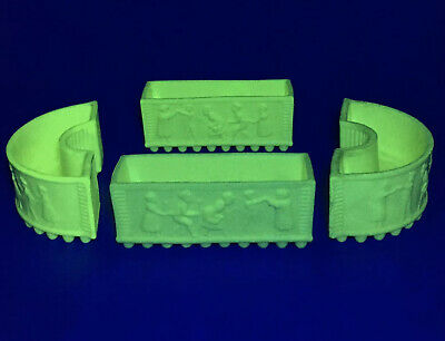 Antique Set Of Sowerby Pressed Uranium Glass Queens Ivory Ware Oranges & Lemons