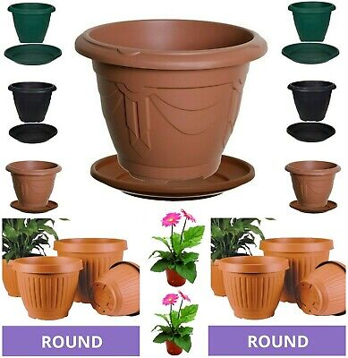 Plastic Venetian Round Plant Flower Pot Pots Planter Grow Container Water Garden
