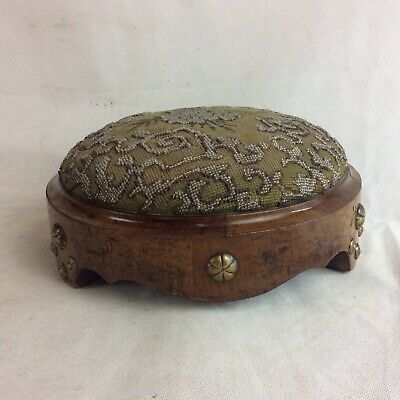 Early Victorian Walnut Footstool With Beaded Decorative Top And Brass Studs
