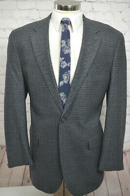 Chaps Ralph Lauren Mens Gray Houndstooth Check Sport Coat Blazer Jacket 46L