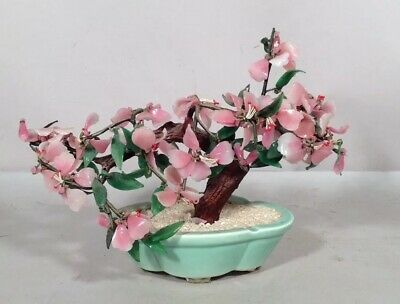 Vintage Chinese Japanese Carved Bonsai Tree Large Pink Glass Porcelain Flowerpot