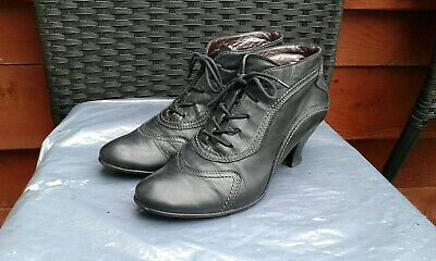 Ladies Soft Black Leather Lace Up Ankle Boots By Gabor Size 5.5