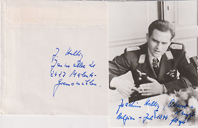 Signed photo Stuka pilot Oberst Joachim Helbig - Knights Cross with Swords