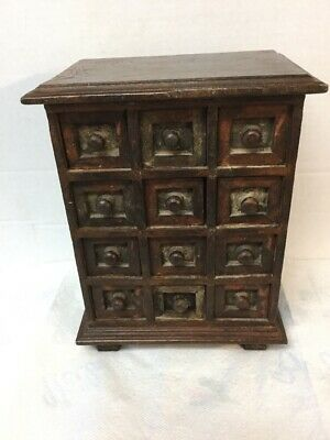 Antique Folk Art Style Small 12 Drawer Spice Cabinet File Solid Wood Mahogany