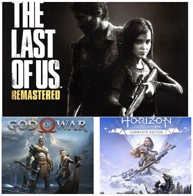 Ps4 Last of Us DISC, God of War CODE and Horizon Zero Dawn Complete Edition CODE