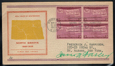 United States Scott#858 On Fdc Signed By James Farley Postmaster General