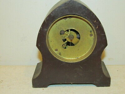 Vintage Small Wood Desk Clock for Parts or Repairs. VG